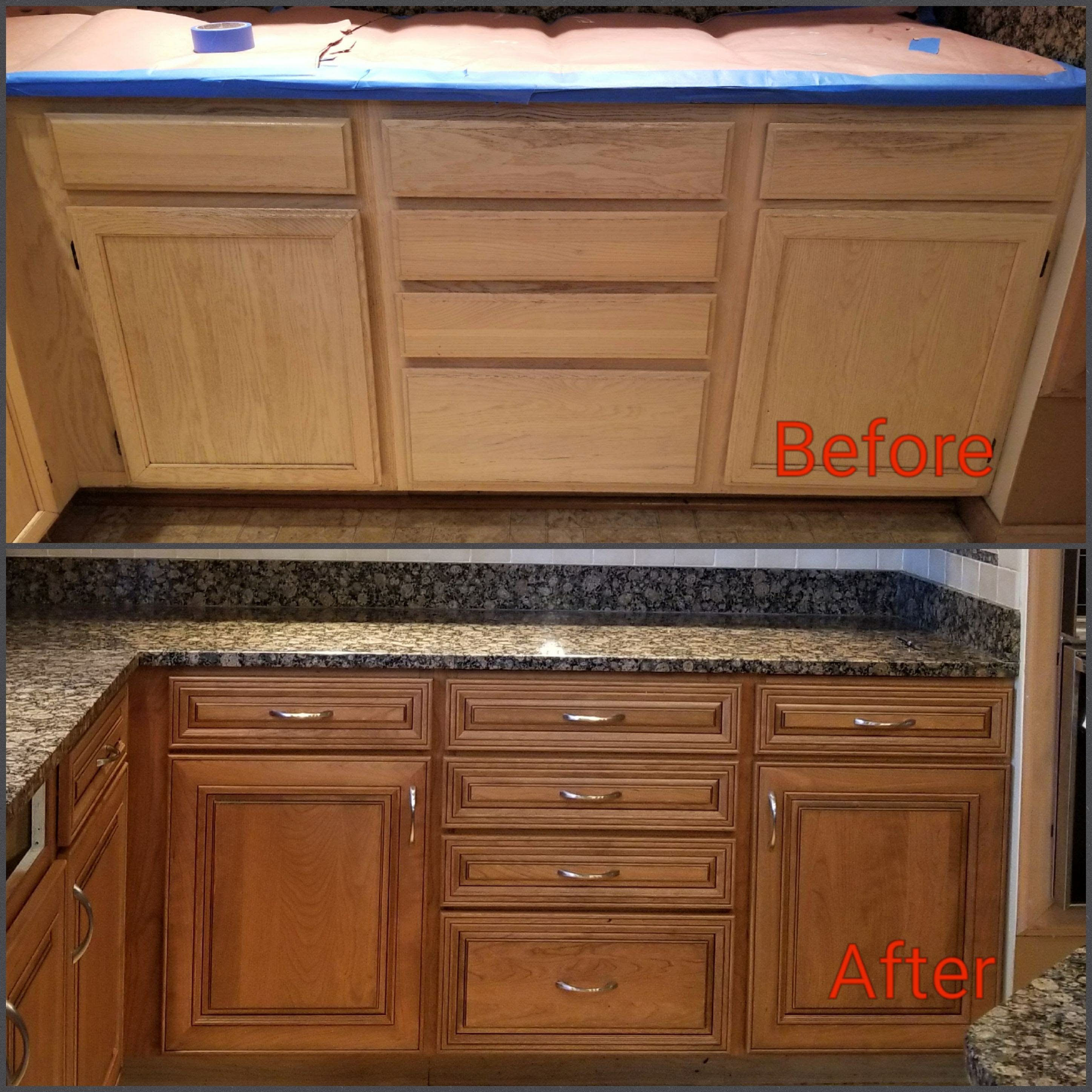Before and After:  Pickled oak cabinets refaced with cherry glazed doors.
