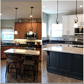 Cabinet Painting in St Louis MO - Before and After painted white and black_10
